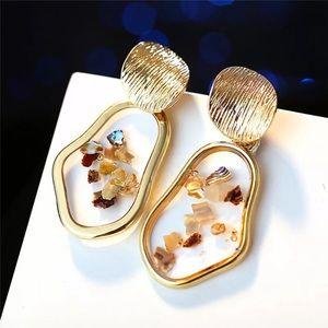 Gold Acrylic Shell Earrings